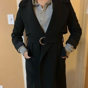 H&M gold ring belted trench coat